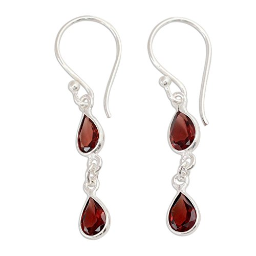 NOVICA Garnet .925 Sterling Silver Teardrop Dangle Hook Earrings Mystical Femme