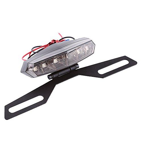 - Motorcycle LED Brake Tail light w/Brake, Keenso Dirt Bike 6 LED Smoked Len Tail Brake Light License Plate Mount Holder Bracket Replacement Light Stop Running Light
