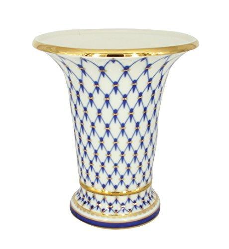 Cobalt Porcelain - Lomonosov Porcelain Cobalt Net Decorative Vase Empire Style 22 Karat Gold