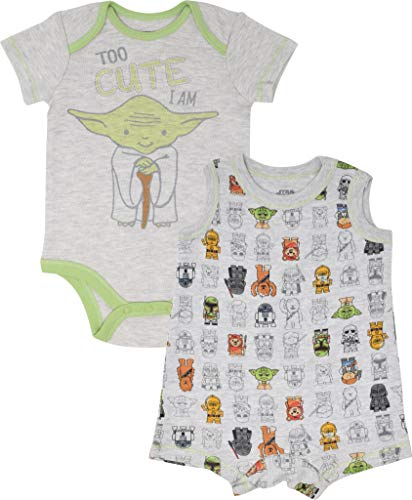 Star Wars Yoda Infant Baby Boys Bodysuit & Sleeveless Romper Clothing Set 12M White/Grey -