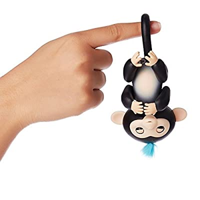 Fingerlings Kids Toys-Interactive Baby Monkey-Black with Blue Hair(Finn) by IVOVO