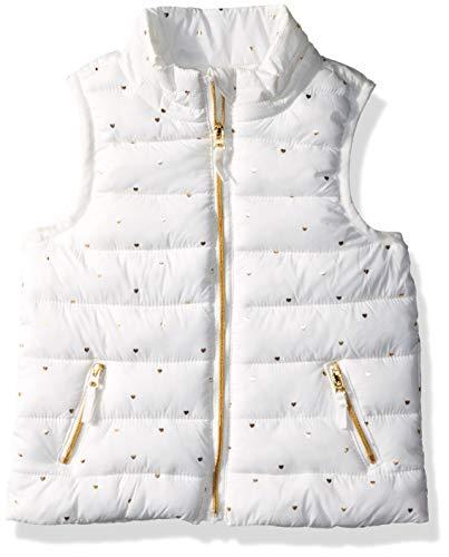 Gymboree Girls' Big Puffer Vest, White/Gold Heart -