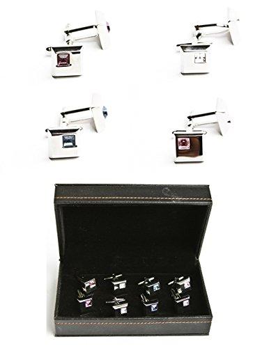 MRCUFF Crystals Square Pink Blue Purple Clear 4 Pairs Cufflinks in Presentation Gift Box & Polishing Cloth (Clear Crystal Cufflinks)