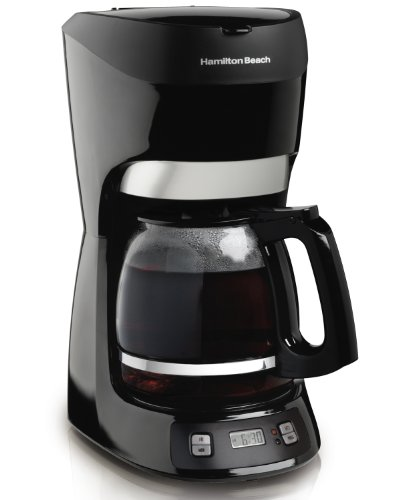Hamilton Beach 12 Cup Programmable Coffee Maker with Digital Clock and Cone Filter, Auto Shut Off (49467), Black ()