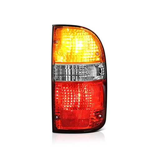 VIPMOTOZ Passenger Side OE-Style Red Amber Lens Tail Light Housing Lamp Assembly Replacement For 2001-2004 Toyota Tacoma Pickup Truck