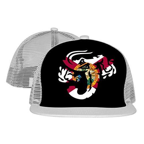 PGtwo Hip Hop Jacksonville Jumbo Shrimp Florida Flag Trucker Hat Unisex 3D Printing Adjustable Grid Cap Gray