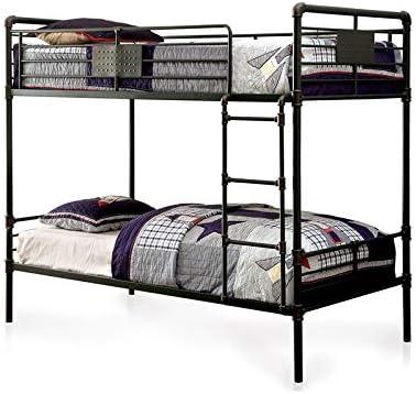 Furniture of America Bryon Queen Over Queen Metal Bunk Bed in Antique Black