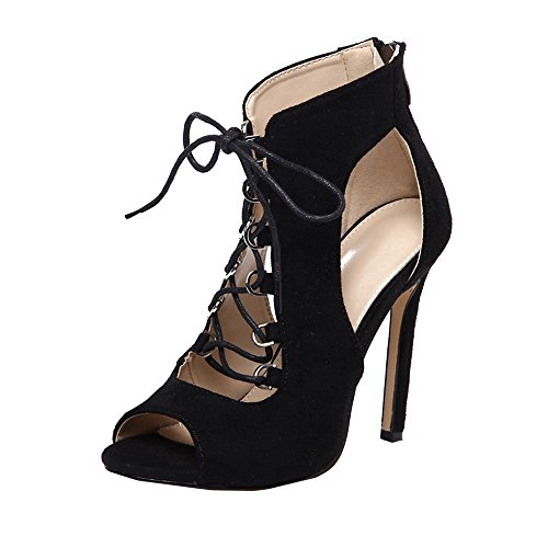 - Xiantime Women Ankle Strap Stilettos Open Toe Bridal Wedding Evening Dress Casual Party Shoes Black