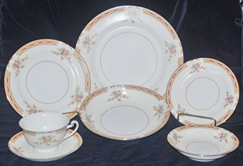 Antique, Occupied Japan, Hira China HIR23 Gold Trimmed, 7 Piece Place Setting