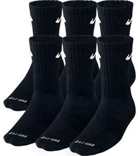 NIKE Dri-Fit Training Dry Cushioned Crew Socks 6 PAIR Black with White Signature Swoosh Logo) LARGE 8-12