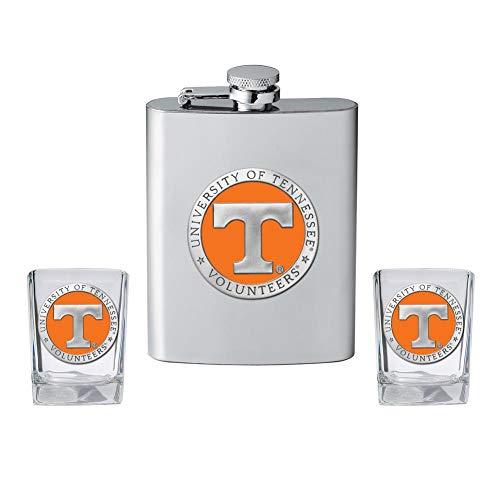 Heritage Metalwork Tennessee Volunteers Vols UT Flask and 2 Shot Glass Set Liquor -