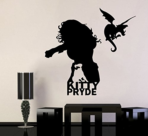 Marvel Comics Wall Vinyl Decal Kitty Pryde Face Hero Wall Art Superhero Vinyl Sticker Decor for Home Childroom Design Bedroom Image mar17(23x22) (Kitty Superhero)