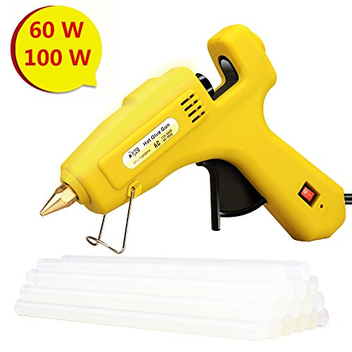 KMC Hot Glue Gun with 16pcs Glue Sticks, 60/100W Dual Power High Temp Heavy Rapid Heating Technology, Transparent Glue Gun Sticks for Arts & Crafts, Sealing and Quick Repairs by KMC