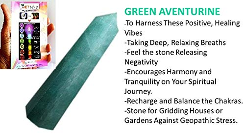 Jet Genuine Green Aventurine Obelisk Tower Free Booklet Image is JUST A Reference