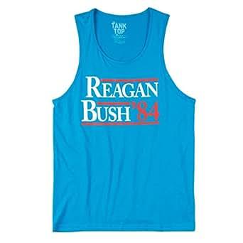 ROWDY GENTLEMAN Men's Reagan Bush '84 Tank Top, Light Blue, Medium