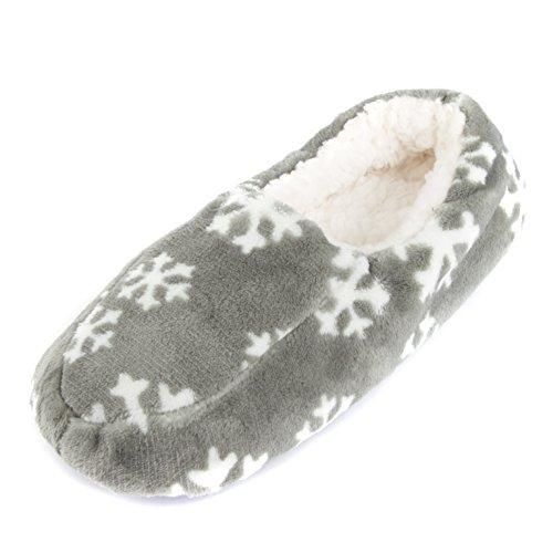 Leisureland Heren Fleece Gevoerde Gezellige Slippers Sneeuwvlokken Grijs