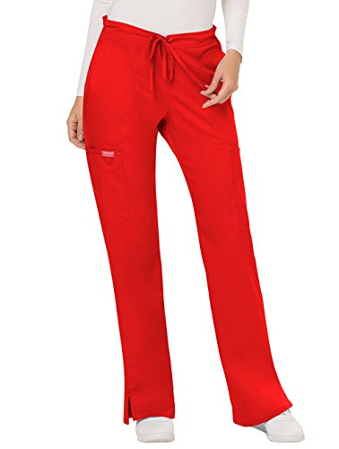 WW Revolution by Cherokee Women's Mid Rise Moderate Flare Drawstring Pant Petite, Red, XX-Small Petite