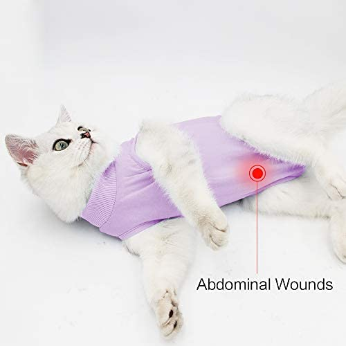 Glorisun Cat Recovery Suit - Cat Breathable E-Collar Alternative After Surgery Wear Anti Licking Wounds 25