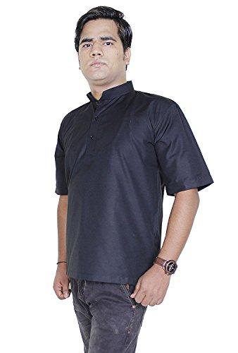Manches courtes en coton bouton de mode mens court kurta up t-shirts tees