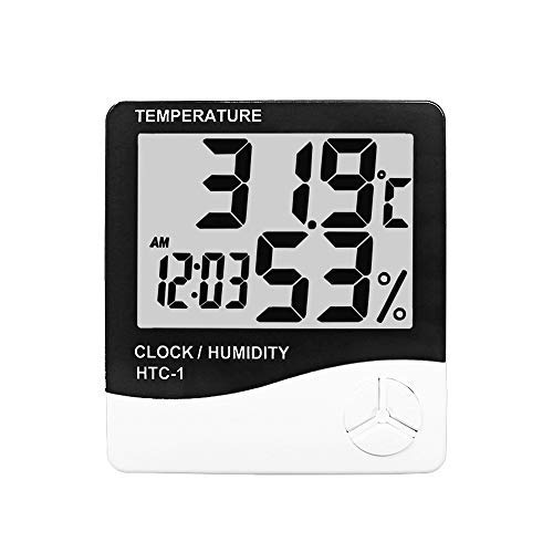 Greenhouse Baby Room HTC-1 KETOTEK Accurate Digital Hygrometer Indoor Outdoor Thermometer Clock Humidity Monitor LCD Display Cold-Resistant Waterproof for Home Office