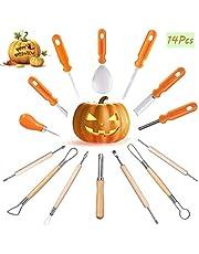 Halloween Pumpkin Carving Kit - 14 Pcs Professional Jack-O-Lanterns Pumpkin Cutting Supplies Tools Kit - Easily Sculpting DIY Halloween with Carrying Case - Carving Knife for Halloween Decoration…