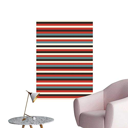 Striped Stickers Wall Murals Decals Removable Vintage Retro Pattern Geometric 60s Style Red Black Teal and Beige Colored Print Corridor Walkway Wall Multicolor W20 x H28