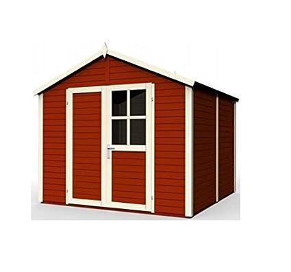 Baltic – Caseta de jardín (madera maciza 14 mm rojo 5,82 M2 –