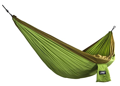 """Camco Camping Hammock with Attached Storage Bag - Durable Comfortable Nylon Material, Supports 400 lbs, Perfect for Camping, Hiking, Beaches, Parks, Porches, Patios and Indoors - (Green/Olive) (51240) """