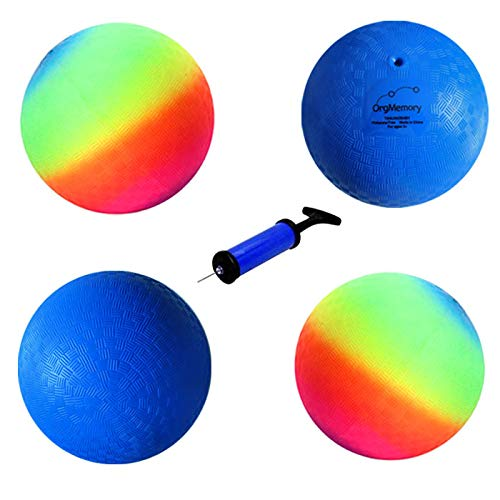 OrgMemory Playground Ball, Kickball, (8.5 inch, 4 pcs, 2 Each of Rainbow Ball, Blue), Handball for Kids and Adults, Dodge Ball with Pump
