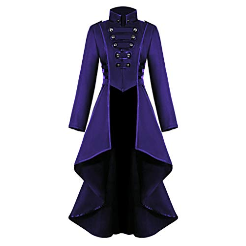 Halloween Costumes for Women,Ladies Gothic Steampunk Button Lace Corset Coat Tailcoat Jacket Waistcoat Sweatshirts Purple