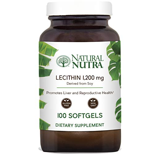 Natural Nutra Soy Lecithin Dietary Supplement from Soybean Oil, Non GMO, High Potency, 1200 mg, 100 Softgels ()