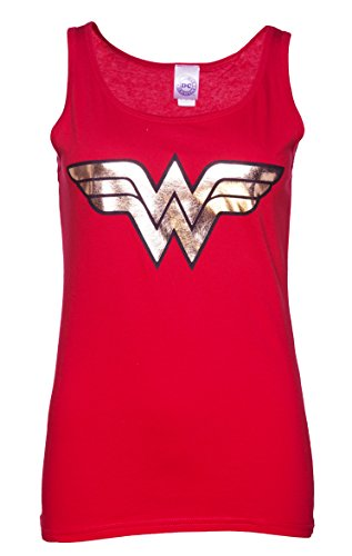 Womens Red Wonder Woman Gold Logo Strappy Vest, Red, X-Large