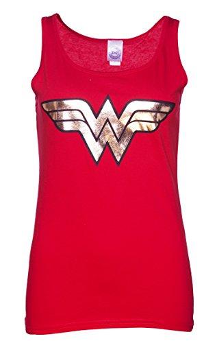 Damen Rot Wonder Woman Gold Logo Tank Weste