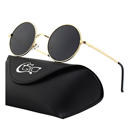 CGID E01 Small Retro Vintage Style John Lennon Inspired Circular Circle Metal Rimmed Round Polarized Sunglasses Goggles Shades for Women and Men with Gift Package