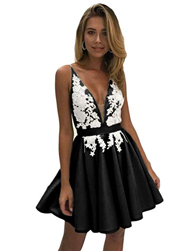 a58ee025686 Oufeisha Women s Short Ruffles Prom Dress Spaghetti Strap Lace Homecoming  Party Dress OFS07 Black 02