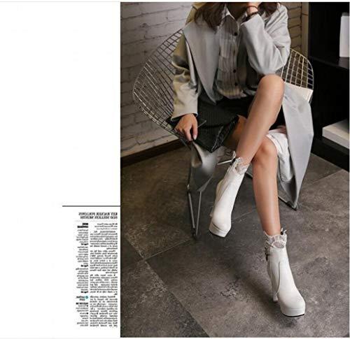 Tacco Stivali stivali Donna Ig 42 Autunno 34 Martin Moda inverno Da 43 Stivaletti Tacco Con bianca vqdRdTUzEn