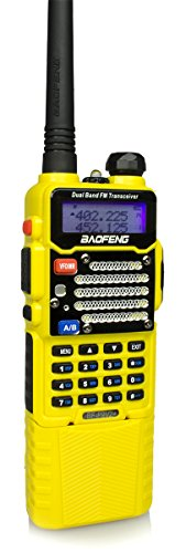 Baofeng Yellow BF-F9 V2+ HP 8Watt Tri-Power (1/4/8w) w/3800mah Extended Battery (USA Warranty) Dual-Band 136-174/400-520 MHz FM Ham Two-way Radio (Fm Transceiver)