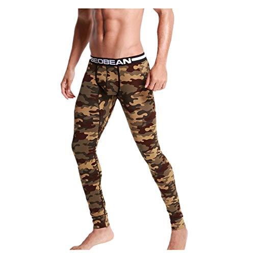 (NREALY PJ Mens Camouflage Print Cotton Sports Leggings Thermal Long Johns Underwear Pants(Army Green, M))
