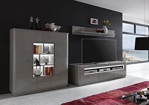 wohnwand 39 quadra 4 39 hochglanz lackiert taupe graubraun vormontiert g nstig online kaufen. Black Bedroom Furniture Sets. Home Design Ideas