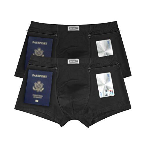 Men's Underwear Secret Pocket Panties, Medium Size 2 Packs(Black)
