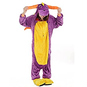 Afoxsos Women's Cosplay Flannel Animal Cartoon Onesie Adult Pajamas Purple Dragon