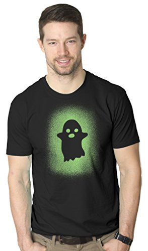 Glowing Ghost Glow In The Dark Shirt Scary Halloween T Shirt Cool Costume Tee (black) L ()