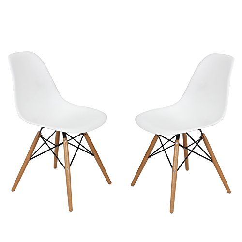 ELEGAN Set of Two 2 White Dining Chairs - Mid Century Modern Chair - Molded Plastic Eames Style Chair With Wooden Legs