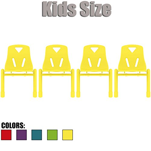 2xhome - Set of Four (4) - Yellow - Kids Size Plastic Side Chair 12'' Seat Height Yellow Childs Chair Childrens Room School Chairs No Arm Arms Armless Molded Plastic Seat Coated Metal Legs Stackable by 2xhome