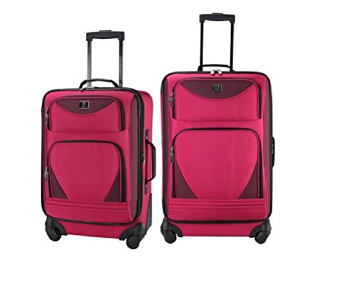 Luggage Spinner 2-Piece Set Women Baggage Expandable Upright Rolling Wheels Pink