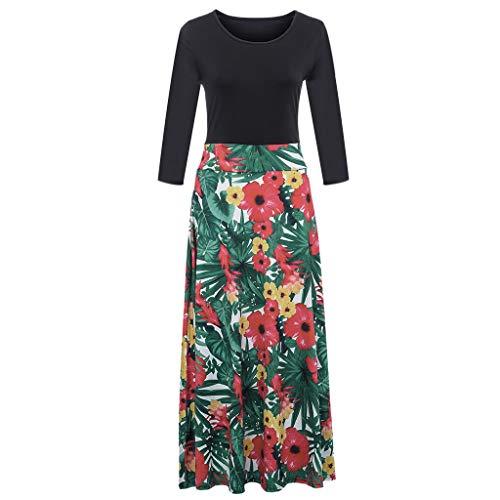 MALLOOM Fashion Women Long Sleeve Boho Floral Print Long Maxi Dress Ladies Casual Holiday Dress -