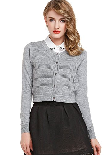 Generic Women's Short Cardigan Sweater XXX-Large Grey by Generic