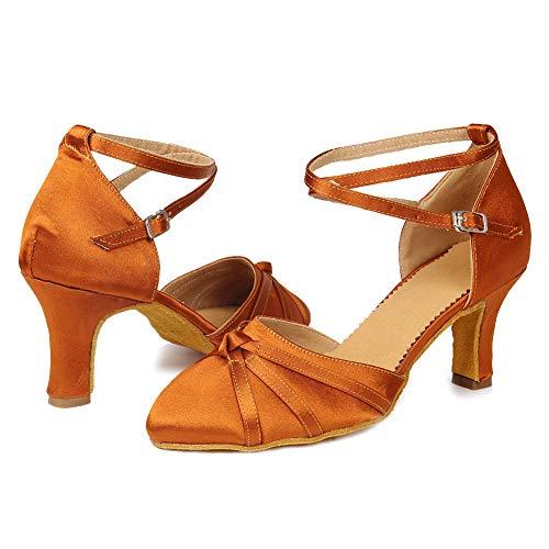 7cm Women Shoes Dance Brown UK Satin Ballroom SWDZM Model Latin 516 tqZwdpnz