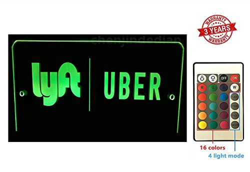 Uber Lyft LED Light Sign Logo Sticker Decal Glow Accessories Remote Intelligent Control 16 Luminous Colors 4 Control Modes Uber Lyft Glowing Light Up Sign For Car Taxi ...
