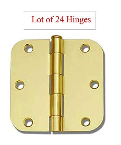 (24 Pack Polished Brass 3.5' x 3.5' 5/8 Radius Round Corner Interior Door Hinges)